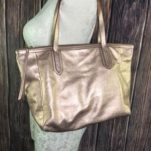 Rose Gold FOSSIL Large Leather Tote Bag Excellent
